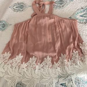 Blush blouse with lace detail and tie neck